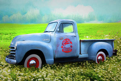 Photograph - Hot Rod Chevrolet Pickup Truck Watercolor Painting by Debra and Dave Vanderlaan
