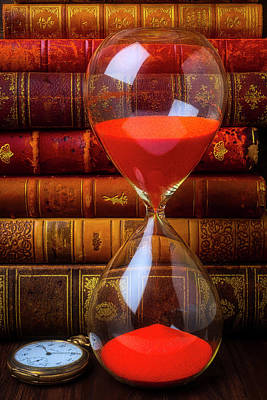 Photograph - Hourglass And Old Books by Garry Gay