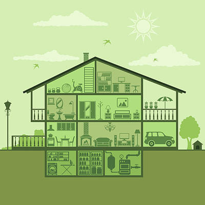 House Interior Art Print by Alonzodesign