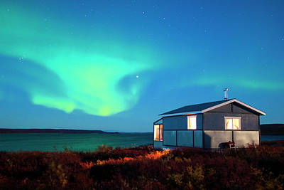 Photograph - House With Aurora Borealis, Northern by Wayne Lynch