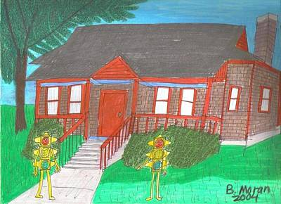 Drawing - House With Chimney by Barb Moran