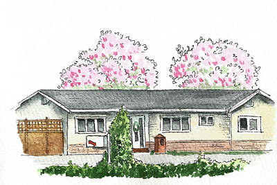 Pop Art Rights Managed Images - House with Magnolia Trees Royalty-Free Image by Masha Batkova