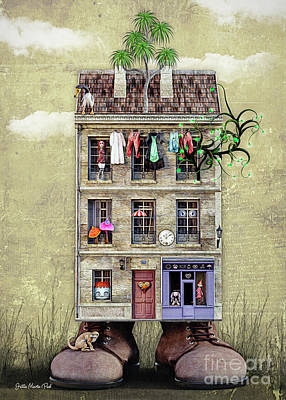 Digital Art - House With Personality by Jutta Maria Pusl