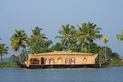 Kerala Photograph - Houseboat On Backwaters, Kerala, India by Danita Delimont