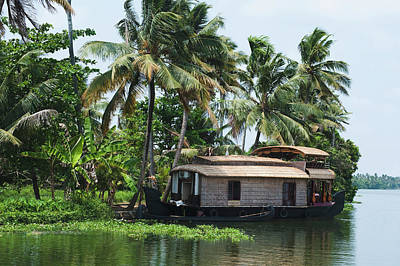 Kerala Photograph - Houseboat On The Coast, Kerala by Exotica.im
