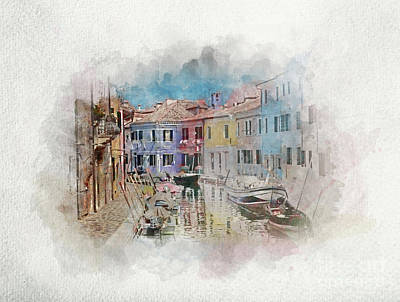 Photograph - Houses And Canal On Burano Island In Watercolors. by Michal Bednarek