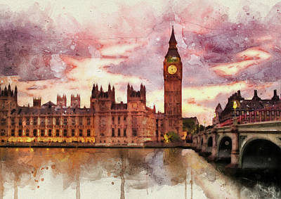 Mixed Media - Houses Of Parliament by David Ridley