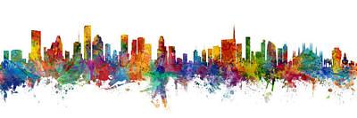 Houston And Milan Skyline Mashup Art Print