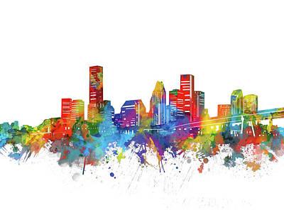 Houston City Skyline Watercolor Art Print