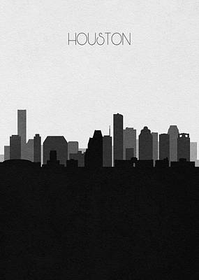 Drawing - Houston Cityscape Art V2 by Inspirowl Design