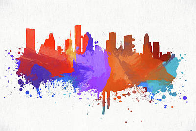 Painting - Houston Colorful Skyline by Dan Sproul