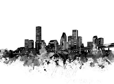 Abstract Skyline Royalty-Free and Rights-Managed Images - Houston Skyline Bw by Bekim M