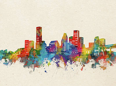Abstract Skyline Royalty-Free and Rights-Managed Images - Houston Skyline Watercolor by Bekim M