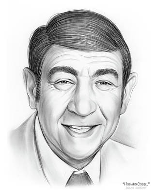 Sports Drawings - Howard Cosell by Greg Joens