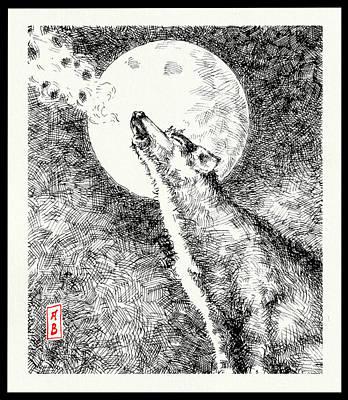 Drawing - Howling Wolf by Javier Gonzalez de Castejon