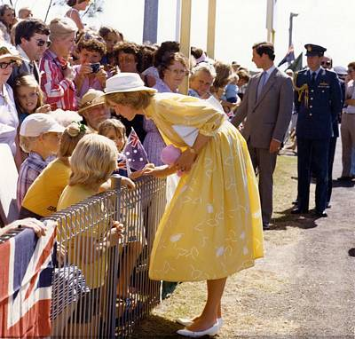 Painting - Hrh The Princess Of Wales  Brisbane Airport  1983 by Celestial Images