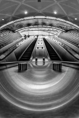 Photograph - Hudson Yards Nyc Subway Station Bw by Susan Candelario