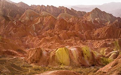 Photograph - Huge Scallop Rock Cumulus Rainbow Mountains Zhangye Gansu China by Adam Rainoff