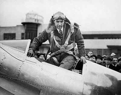 Flying Photograph - Hughes Boards His Plane by Time Life Pictures