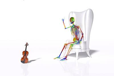 Surrealism Digital Art - Human Skeleton and Violin by Betsy Knapp