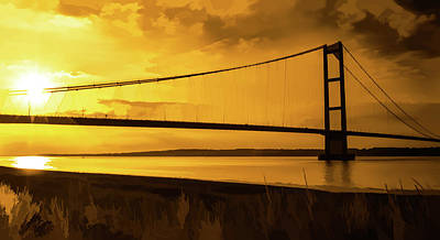 Photograph - Humber Bridge Golden Sky by Scott Lyons