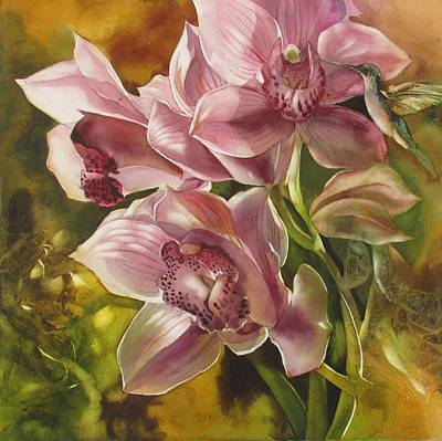 Painting - Humming Bird With Orchid by Alfred Ng