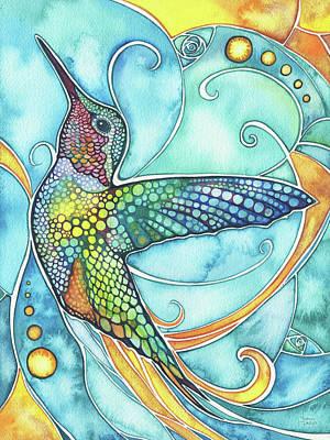 Yellow Bird Wall Art - Painting - Hummingbird by Tamara Phillips