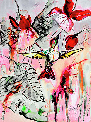 Mixed Media - Hummingbird Abstract Modern Bird Art by Ginette Callaway