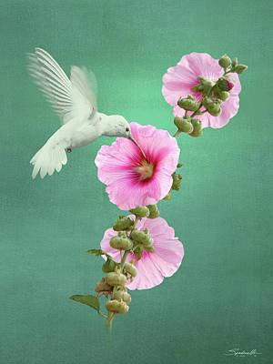 Digital Art - Hummingbird And Malva Wildflower by IM Spadecaller