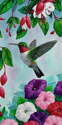 Flying Hummingbird Wall Art - Painting - Hummingbird Flying In Spring Flower Garden 2 by Crista Forest