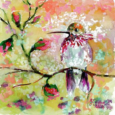 Painting - Hummingbird Pink Blossoms by Ginette Callaway