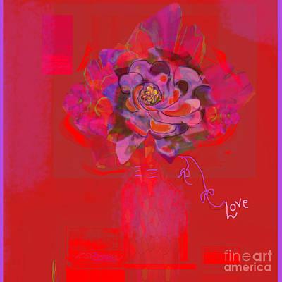 Hummingbirds Red Fantasy Art Print