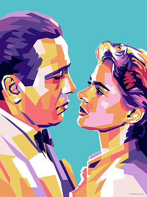 Auto Illustrations - Humphrey Bogart and Ingrid Bergman by Stars on Art