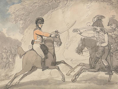 Drawing - Hungarian And Highland Broadsword Exercise by Thomas Rowlandson