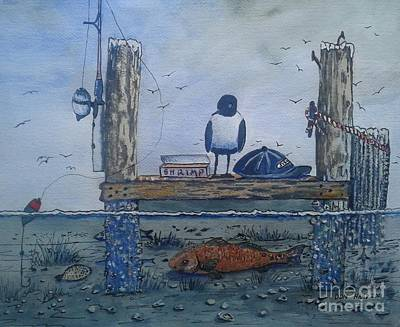 Flounder Painting - Hungry Seagull by Don Hand