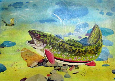 Painting - Hungry Trout by Clyde J Kell