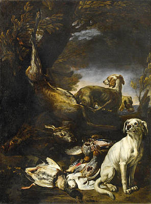 Painting - Hunted Game Are Guarded By Dogs In A Forest Landscape by David de Coninck