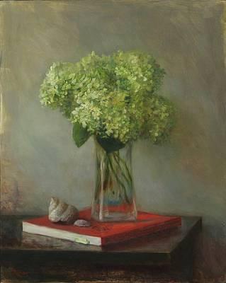 Painting - Hydrangeas and Shells by Thimgan Hayden