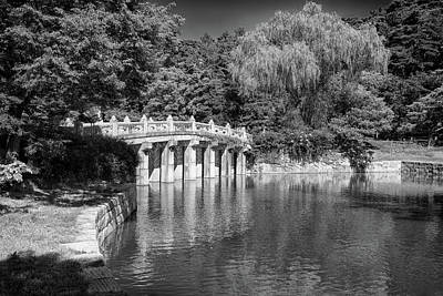 Photograph - Hyeonchungsa Shrine Koi Pond In Black And White by Rick Berk