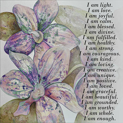 Royalty-Free and Rights-Managed Images - I am...positive affirmation art in lavendar and rose by Shadia Derbyshire