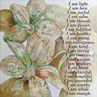 Digital Art Rights Managed Images - I am...positive affirmation in coral and green Royalty-Free Image by Shadia Derbyshire