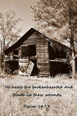Photograph - I Have Seen Better Days Psalm 147 3 Sepia by Lisa Wooten