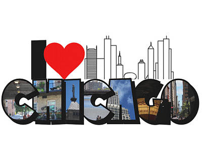 Photograph - I Heart Chicago Big Letter by Colleen Cornelius