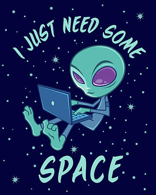 Science Fiction Royalty-Free and Rights-Managed Images - I Just Need Some Space Alien with Laptop by John Schwegel