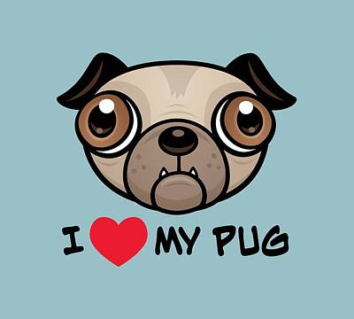 Royalty-Free and Rights-Managed Images - I Love My Pug by John Schwegel