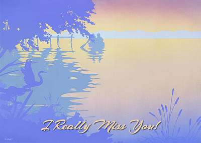 Painting - I Really Miss You Greeting Card - Rowing Boat To The Dock Sunset Tropical Seascape by Walt Curlee
