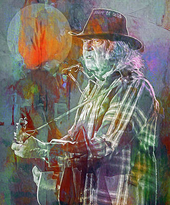 Neil Young Wall Art - Mixed Media - I Wanna Live, I Wanna Give by Mal Bray
