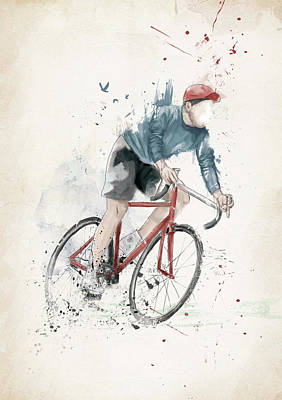 Sports Mixed Media - I Want To Ride My Bicycle by Balazs Solti