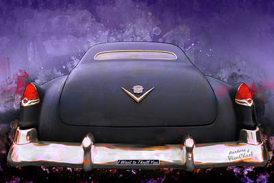 Digital Art - I Want To Thrill You My 56 Caddy Will Chill You by Chas Sinklier