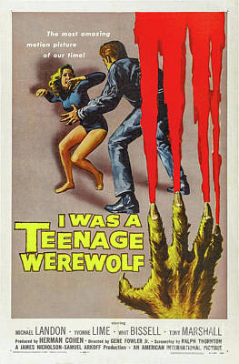 Science Fiction Drawings - I was a teenage werewolf movie poster by Restored archives